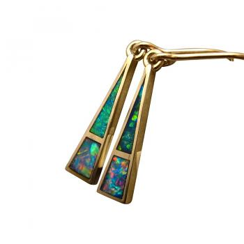 Inlay Opal Earrings 14k Gold Triangle Extremely Bright Colors