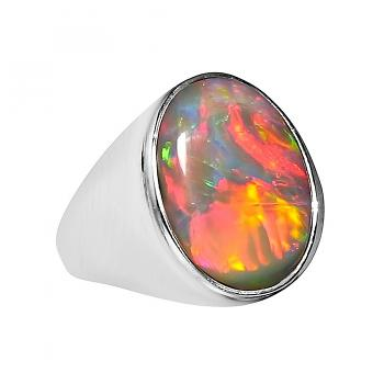 Mens Opal Ring Large Oval Heavy 14k Gold 5482