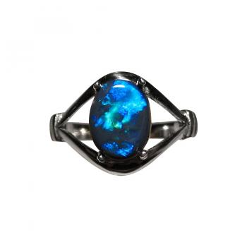 Solitaire Black Opal Ring 925 Silver