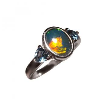 Blue Red Opal Ring in 14k Gold with Two Trillion Blue Topaz