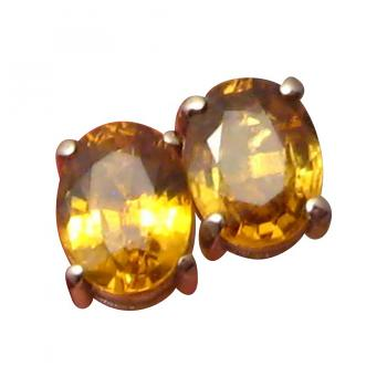 Yellow Sapphire Earrings Oval Studs 14k White Gold