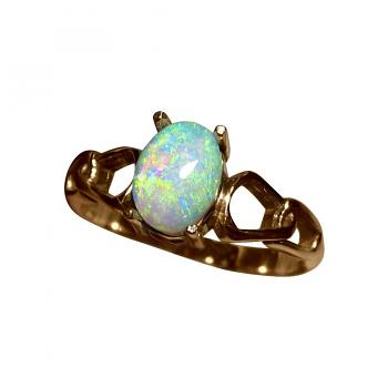 Small Opal Ring 14k Gold Solitaire