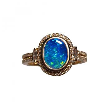 Opal and Diamond Ring 14k Gold 585