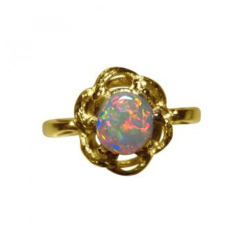 Small Red Crystal Opal Ring 14k Gold