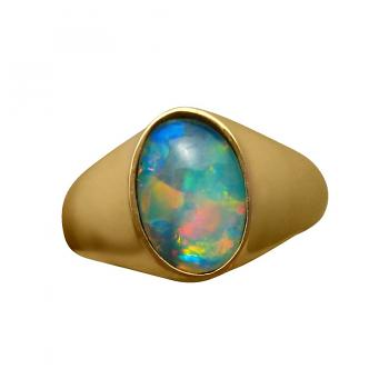 Mens Opal Ring Oval Unique Stone 14k Gold