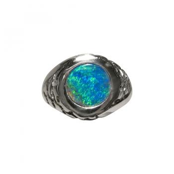 Mens Opal Ring Round Blue Green 925 Silver