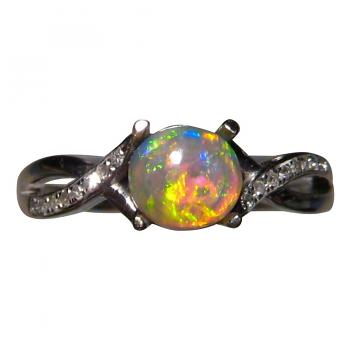 Round Crystal Opal Ring with Diamonds 14k Gold