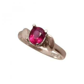 Solitaire Red Ruby Ring 925 Sterling Silver