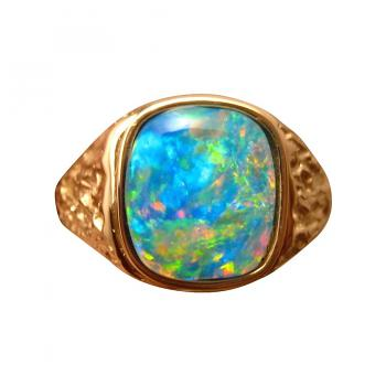 Mens Square Opal Ring 14k Gold Textured Band