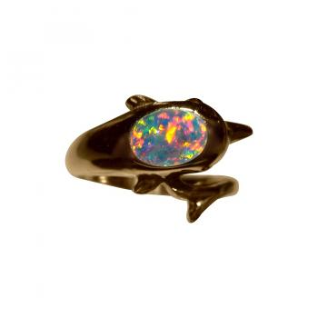 Opal Dolphin Ring 14k Gold