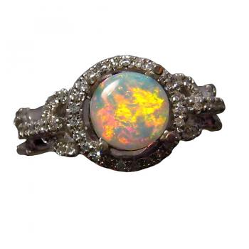 Round Opal Ring with Diamonds 14k