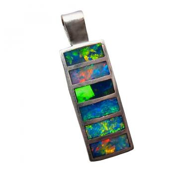 Inlay Opal Pendant 925 Sterling Silver Long Rectangle