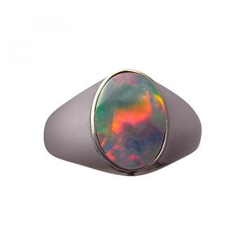 Mens Opal Ring Sterling Silver Wide Band
