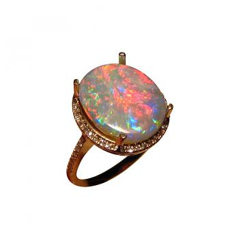 Black Opal and Diamond Ring 14k Gold Red Blue Oval