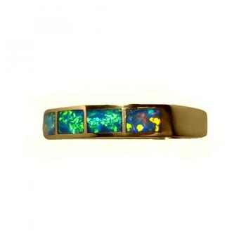 Inlay Opal Ring Four Stones 14k Gold Band