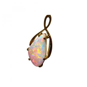 Colorful Crystal Opal Pendant 22k Yellow Gold