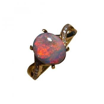 Red Black Opal Ring with Diamonds 14k Gold