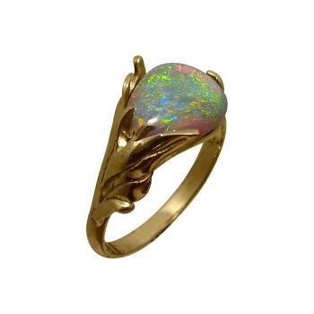 Solitaire Opal Ring 14k Yellow Gold Bright Crystal Gem