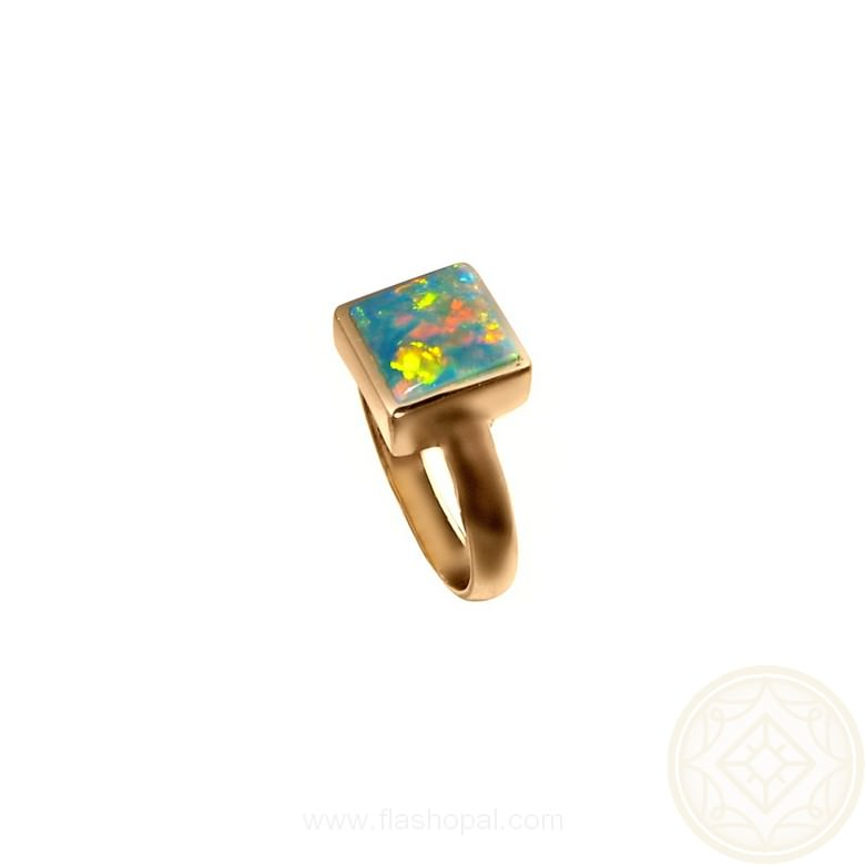 Opal Ring 14k Gold Harlequin Square Stone | FlashOpal