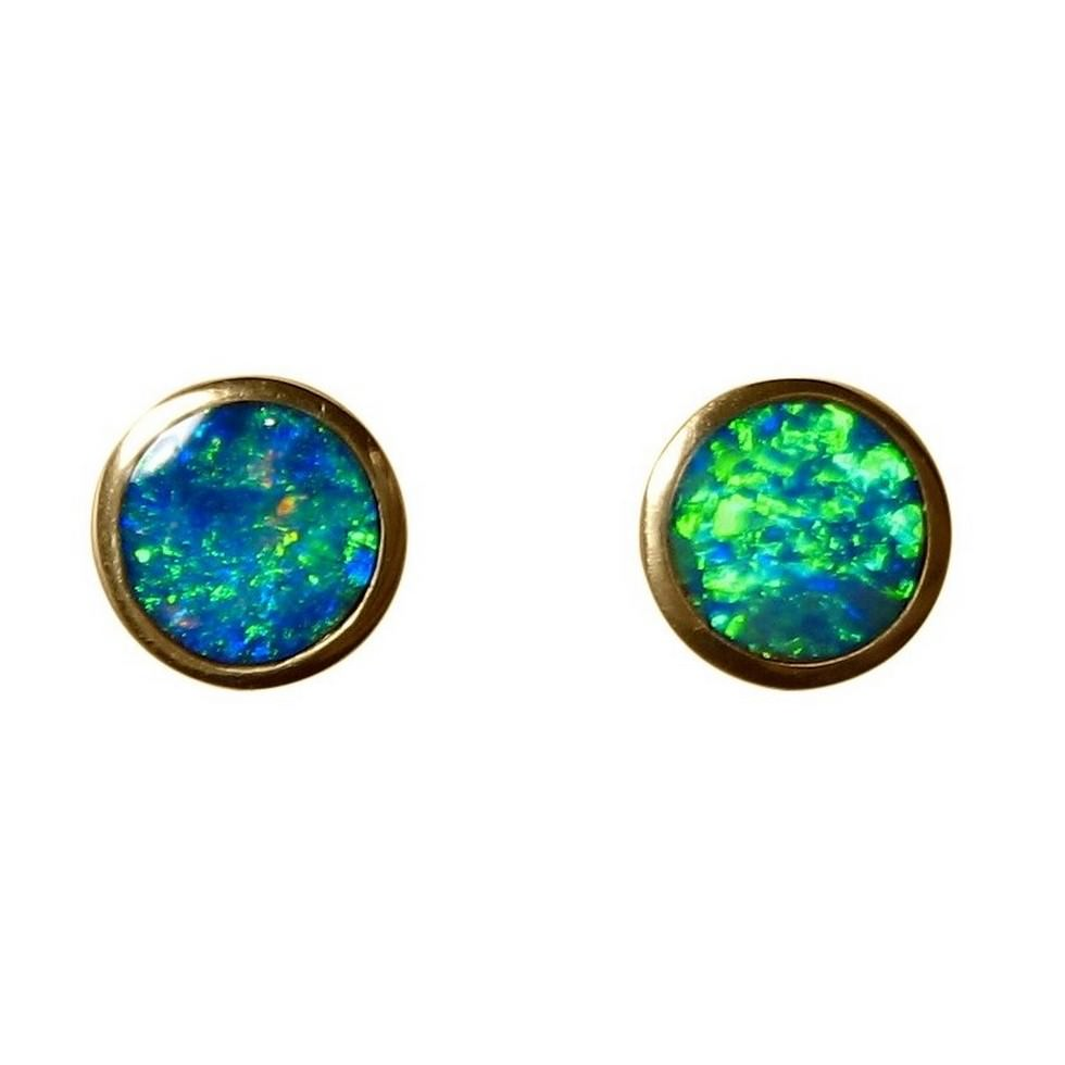 Natural Australian Opal Stud Earrings