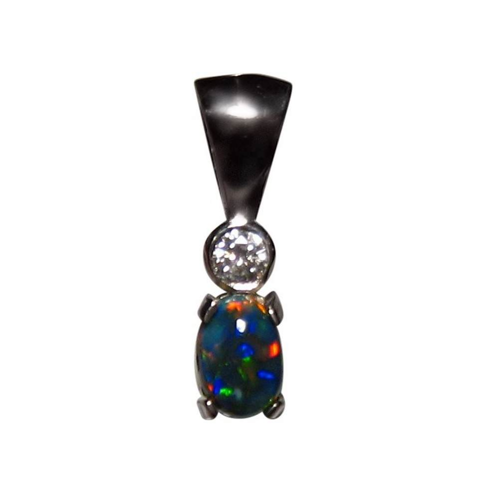 Black opal diamond pendant 18k black opal pendant flashopal black opal pendant 18k white gold single diamond aloadofball Choice Image