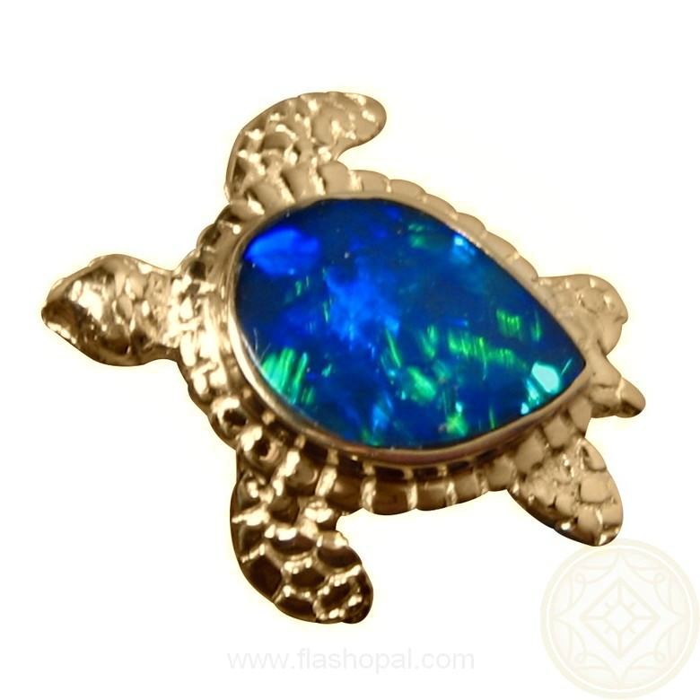 Opal Pendant 14k Gold Sea Turtle Green Gem Flashopal