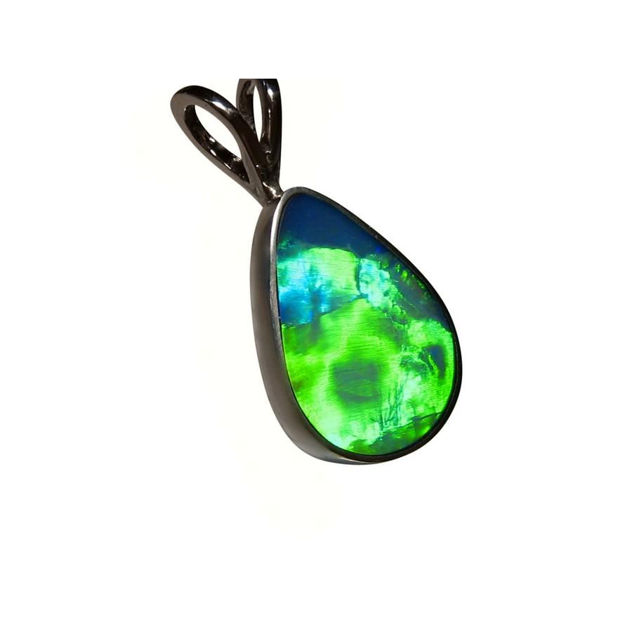 Green Opal Pendant 14k White Gold Inlaid Opal Pendants