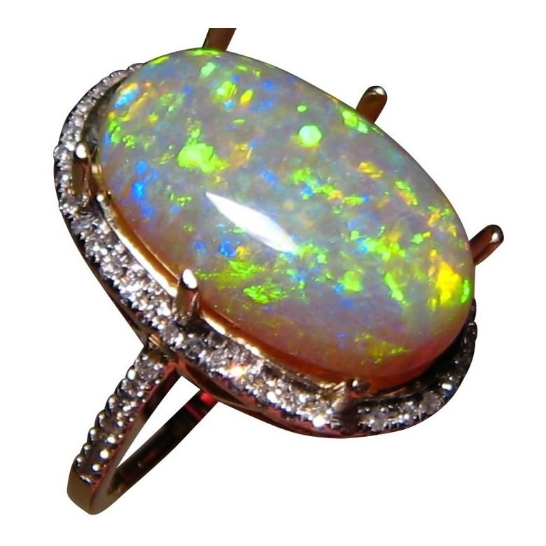 Long Opal Ring Diamonds Green Yellow Oval Stone
