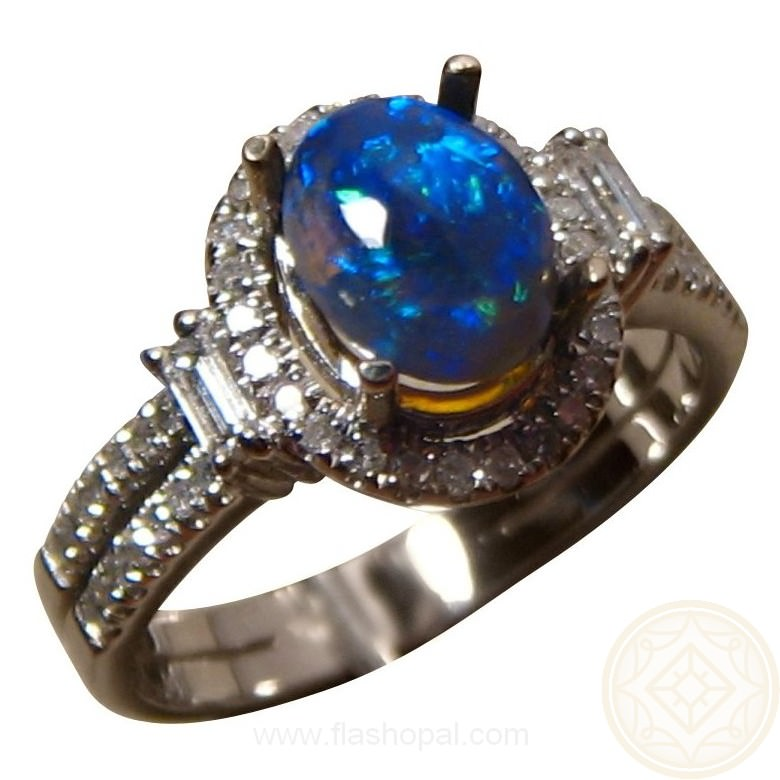 semi black opal engagement ring diamonds - Black Opal Wedding Rings