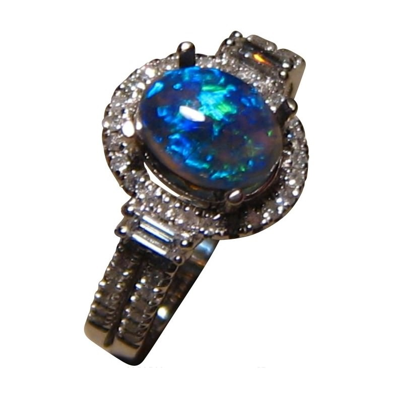 semi black opal diamond ring 14k gold bright blue gem - Black Opal Wedding Rings