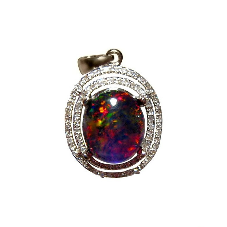 Ethiopian black crystal opal and diamond pendant flashopal ethiopian opal diamond pendant 14k gold black crystal opal mozeypictures Gallery