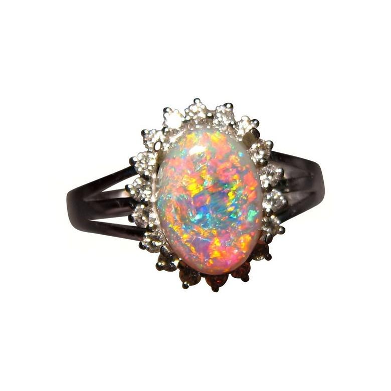 semi black opal ring halo diamonds 14k gold - Black Opal Wedding Rings