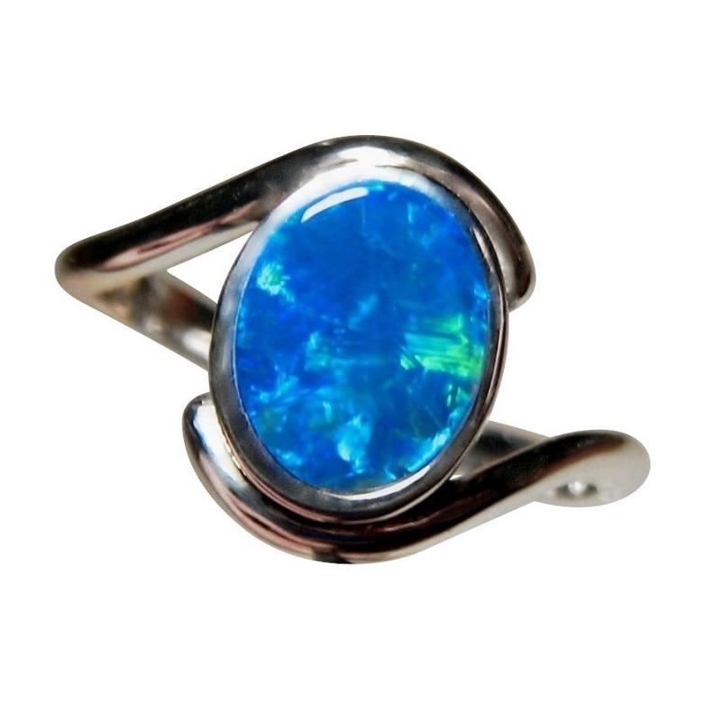 Blue Opal Ring 925 Sterling Silver - Australian Opal Rings ...