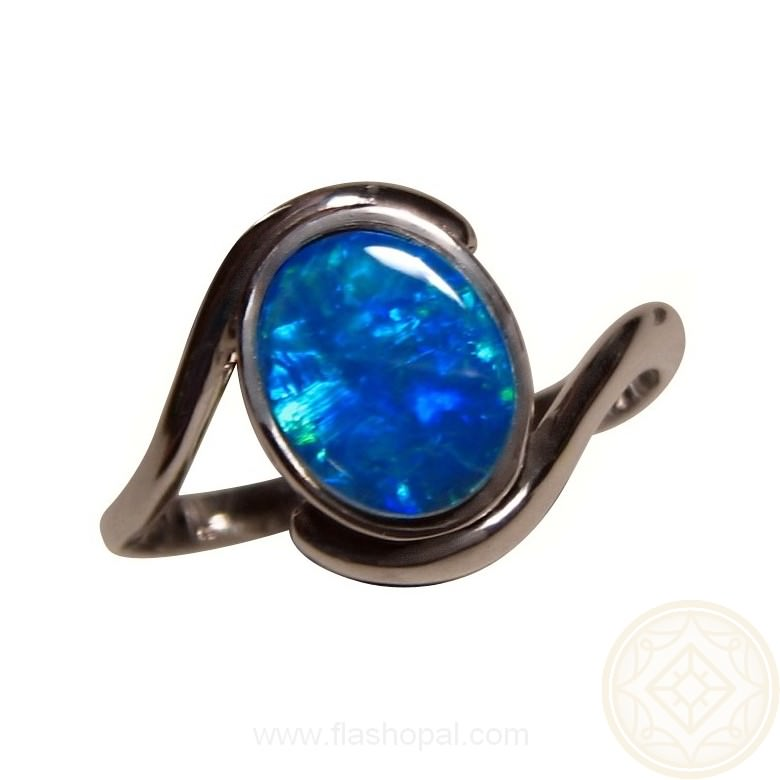 Blue Opal Ring 925 Sterling Silver | FlashOpal