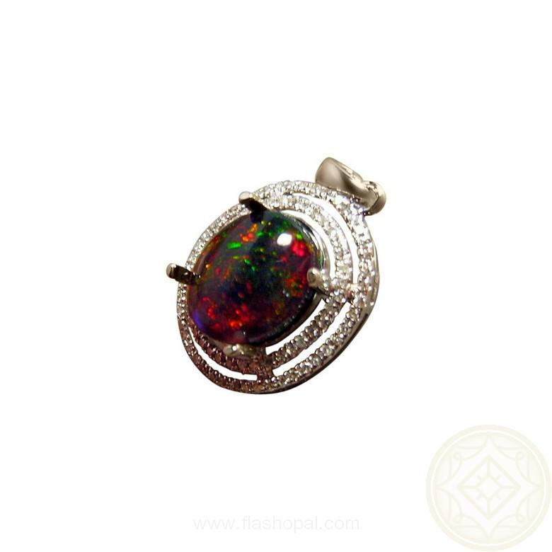 Ethiopian black crystal opal and diamond pendant flashopal oval welo opal with 70 halo diamonds 14k gold pendant mozeypictures Gallery