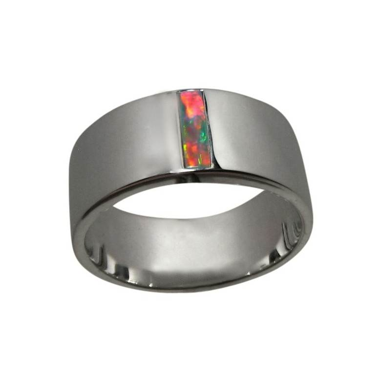Inlay Opal Ring 14k Gold Rectangle Red Stone