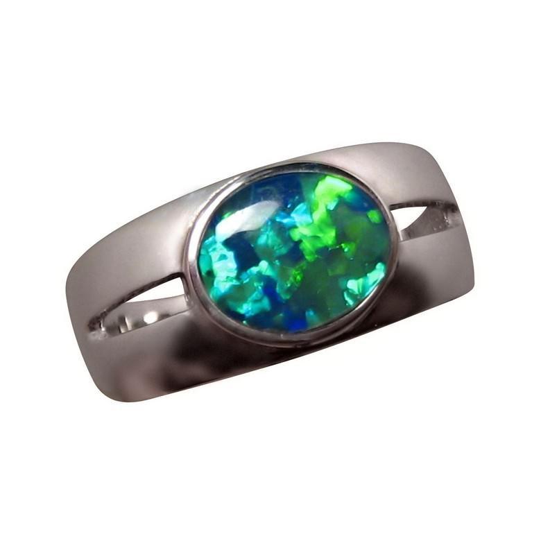 Opal Ring Men Oval Green Blue Mens Opal Rings FlashOpal