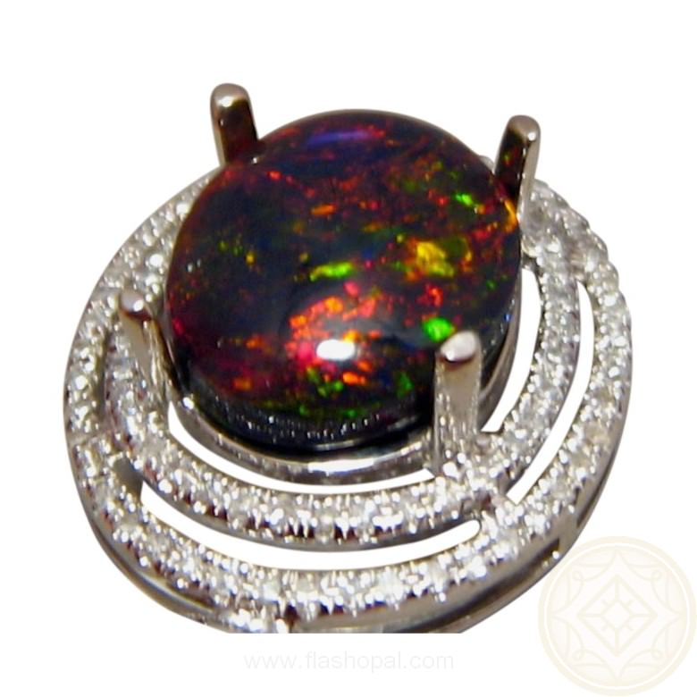 Ethiopian black crystal opal and diamond pendant flashopal 24 carat welo opal with diamonds in pendant for women mozeypictures Gallery