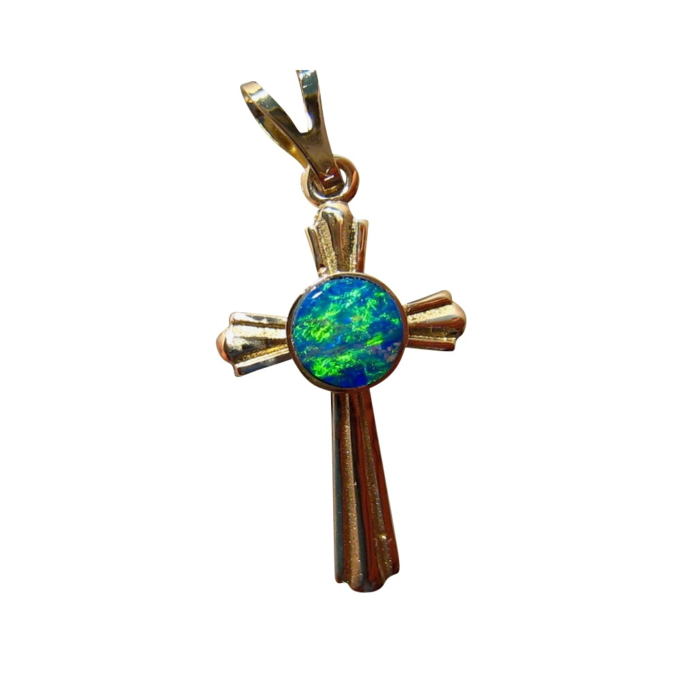 Green opal cross pendant 14k gold flashopal opal cross pendant 14k yellow gold round gem mozeypictures Image collections