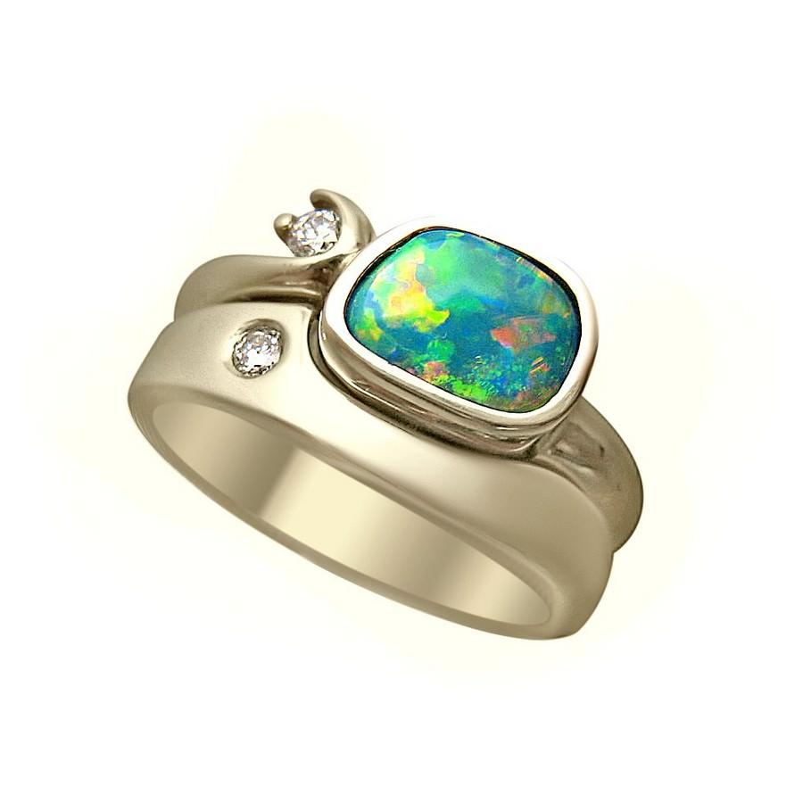 Opal Engagement Wedding Ring Diamonds - Opal Rings
