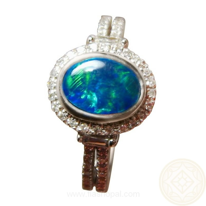 Green Blue Opal Ring Diamonds 14k Gold Opal Rings Flashopal