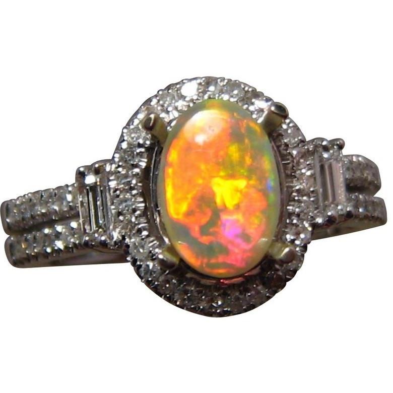 orange opal ring diamonds flashopal