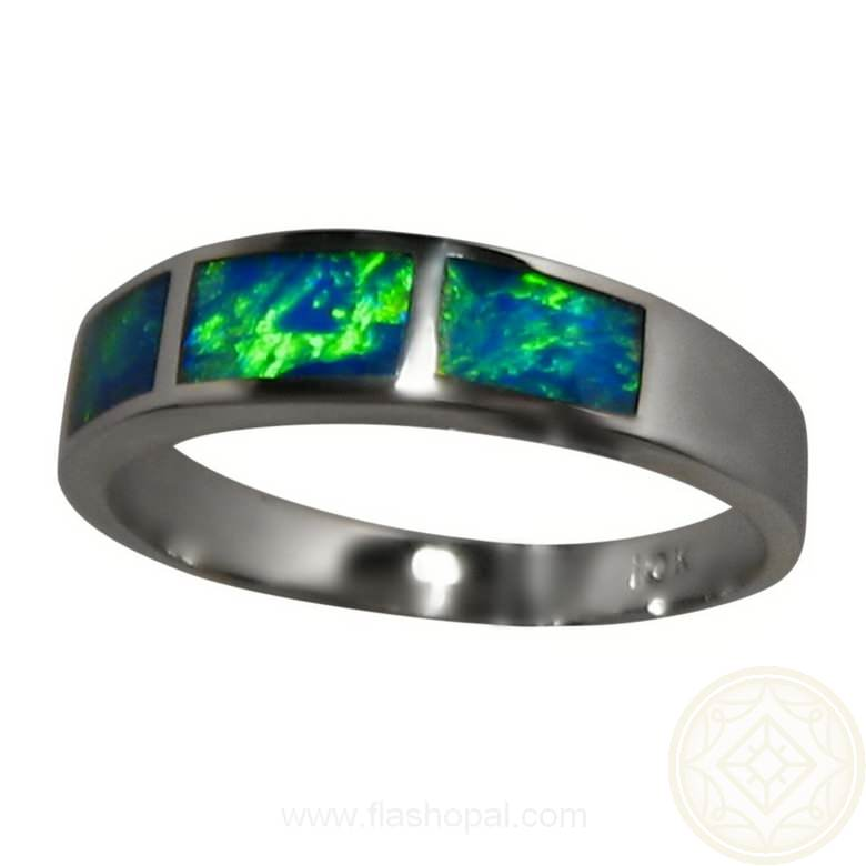 Opal Ring 10k White Gold Three Green Blue Stones