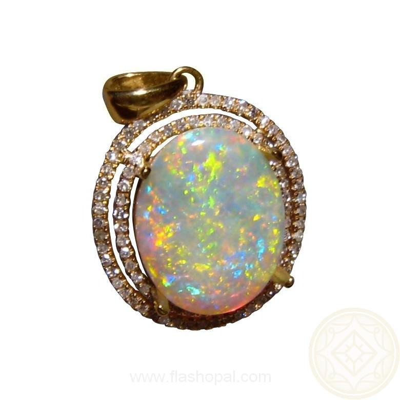 Big Opal Diamond Halo Pendant 14k Gold Opal Pendants