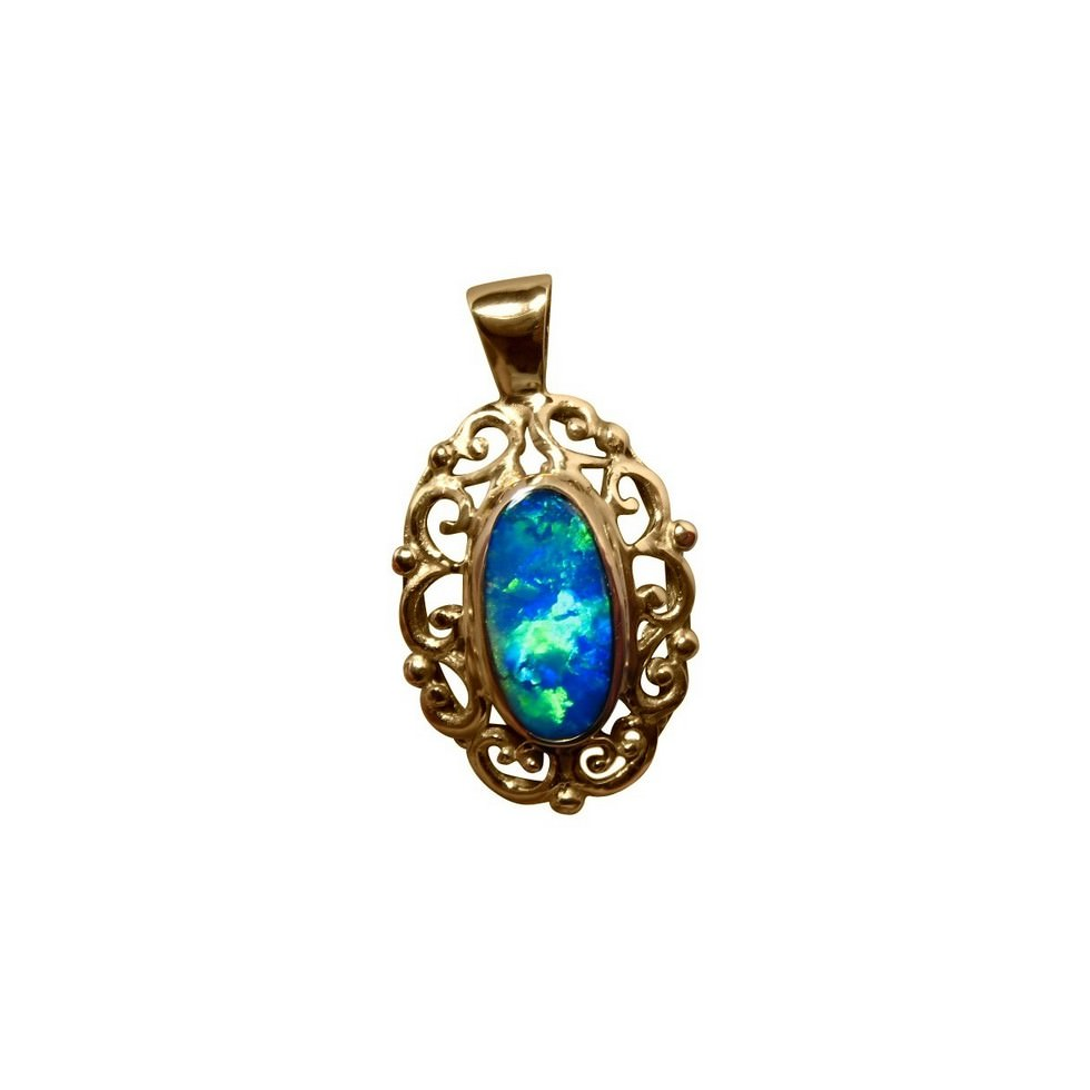Big opal pendant 14k gold fancy scroll flashopal large opal pendant 14k gold blue green oval fancy aloadofball Image collections