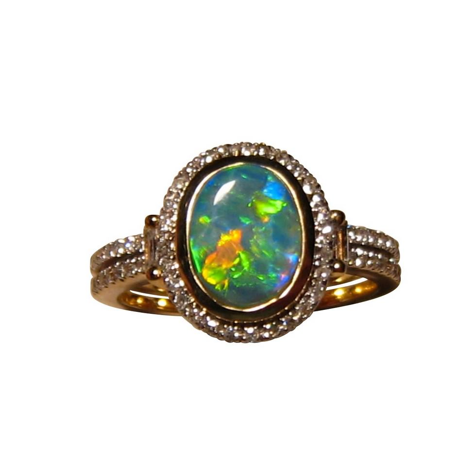 Opal Ring with Diamonds in 14k Gold for women