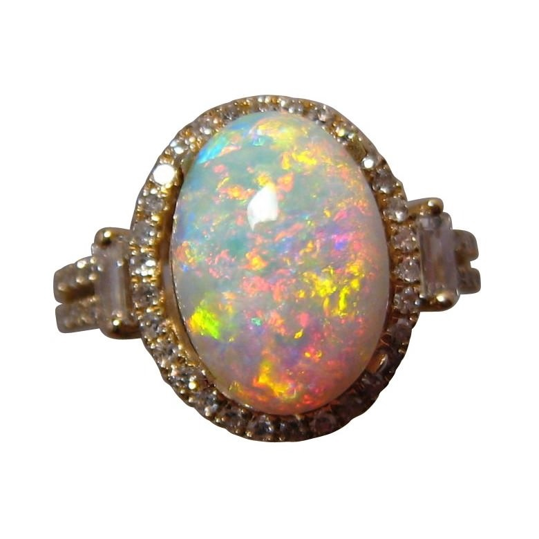 Opal Diamond Ring 14k Gold Orange Red Oval Opal Rings
