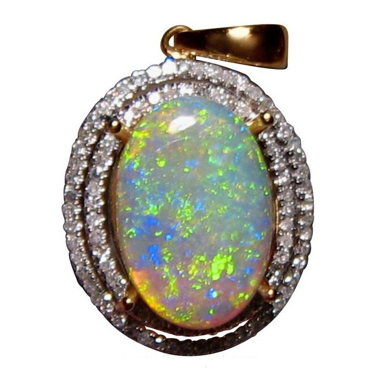 Big crystal opal diamond pendant 14k gold opal pendants flashopal large crystal opal pendant diamonds green oval aloadofball Image collections