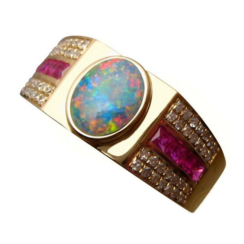 Fabulous Mens Opal Ring Rubies Diamonds - Gold Opal Rings Men | FlashOpal BY11