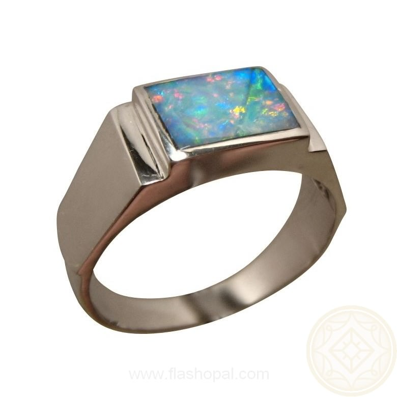 Mens Rectangle Opal Ring Wide 925 Silver Mens Opal Rings FlashOpal